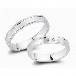 Abielusõrmuste komplekt hõbedast - 3 tsirkooni