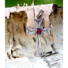 Hõberipats - filigraanne rist granaadiga