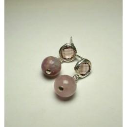 Hõbetatud kõrvarõngad - roosa berülliga
