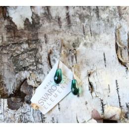 Hõbekõrvarõngad - smaragdroheline Swarovski